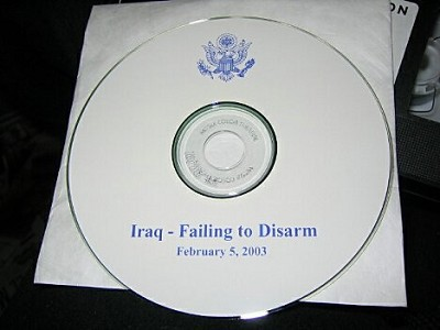 CD-ROM given to media with slides and audio from Powell's presentation